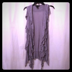Cable & Gauge Lilac Gray Ruffled Long Vest Size L